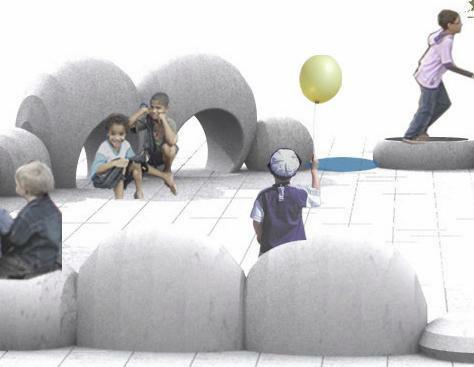 tekening in 3d van kinderen, betonnen speelobjecten op plein
