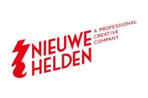 Logo stichting NIeuwe Helden. Rode letters in wit