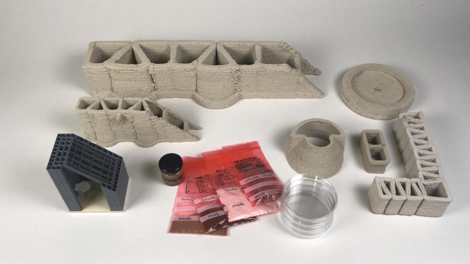 veel objecten, 3dprints en grondstoffen